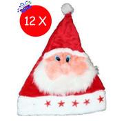 Breaklight.be 12 x Bonnet de Noël Peluche Père Noël avec lumières