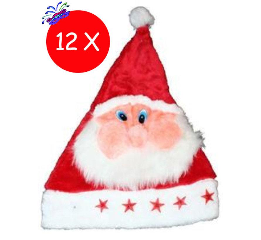 12 x Kerstmuts Pluche Kerstman met lichtjes