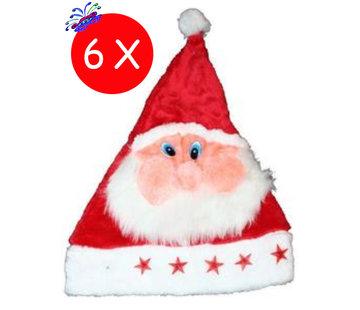Breaklight.be 6 x Bonnet de Noël Peluche Père Noël avec lumières