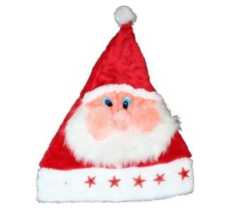 6 x Kerstmuts Pluche Kerstman met lichtjes