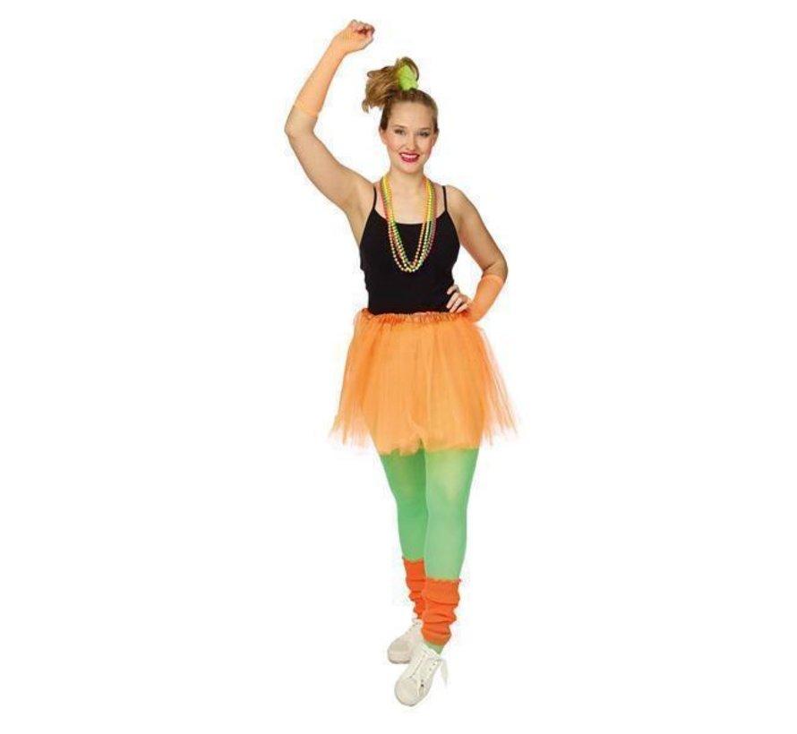 Neon Oranje Tutu 4  delige set
