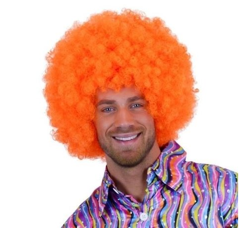 Partyline Neon Afro Pruik Krullenbol Oranje