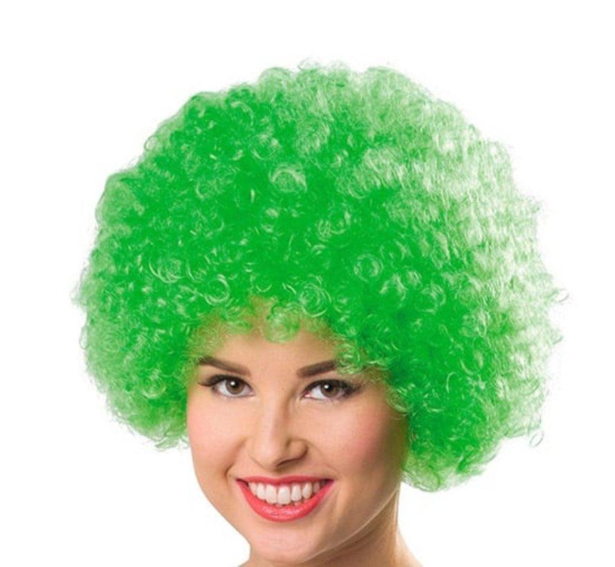 Neon Afro Pruik Krullenbol Groen