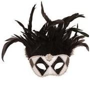 Partyline Venetiaans Masker wit/zwart met zwarte pluimen