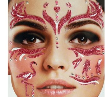 Zoelibat Tatouage autocollant visage | Purple Flamingo