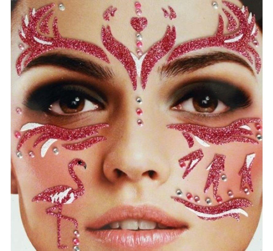 Face Tattoo Stickers | Purple Flamingo