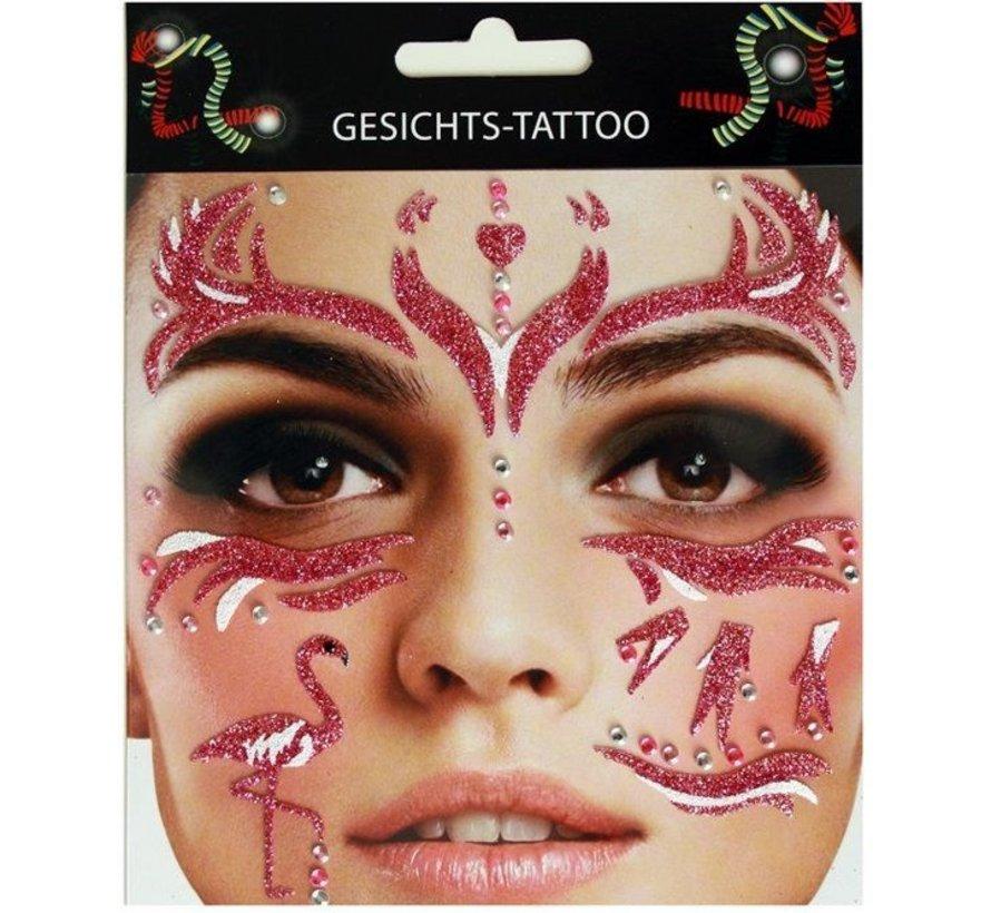 Gezicht Tattoo Stickers | Purple Flamingo