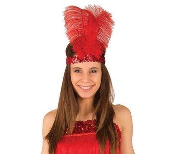 Partyline Charleston hoofdband rood met veer