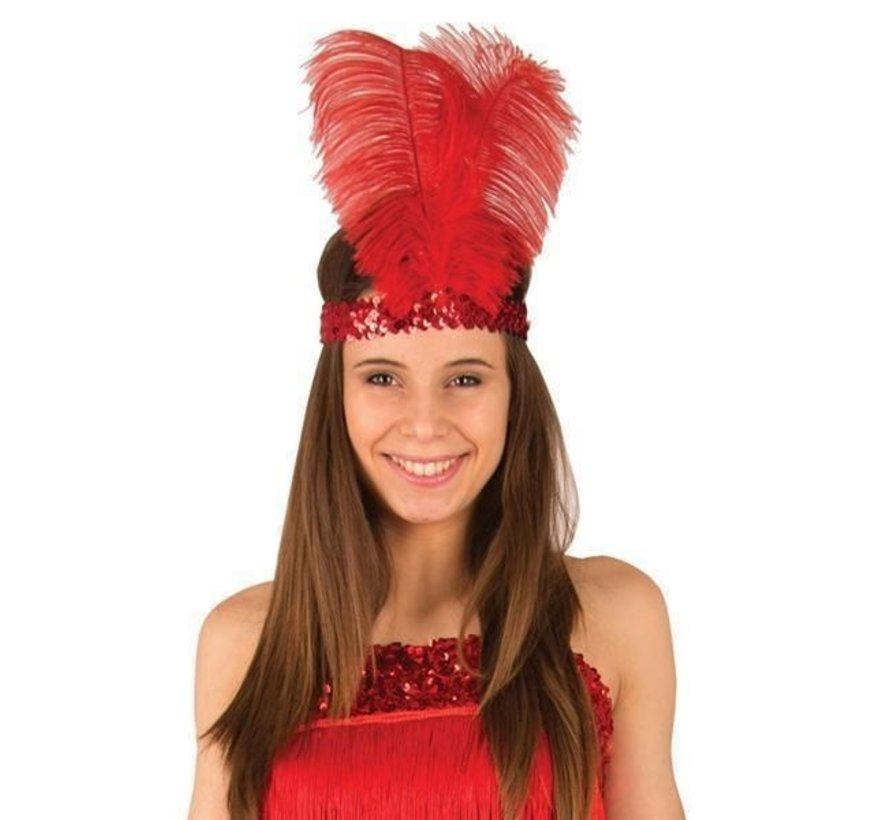 Charleston hoofdband rood met veer