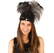 Partyline Charleston headband black with feather