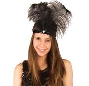 Partyline Charleston hoofdband zwart met veer