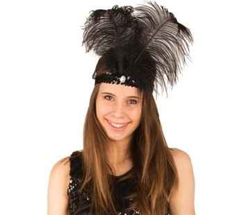 Partyline Bandeau Charleston noir avec plume