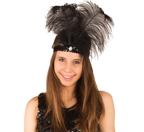 Partyline Charleston headband black with feather