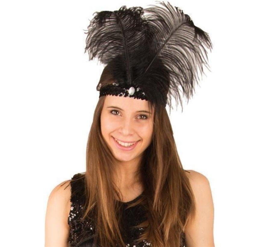 Charleston headband black with feather