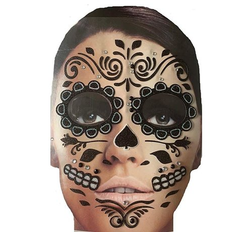 Zoelibat Face Tattoo Stickers   Black Roses