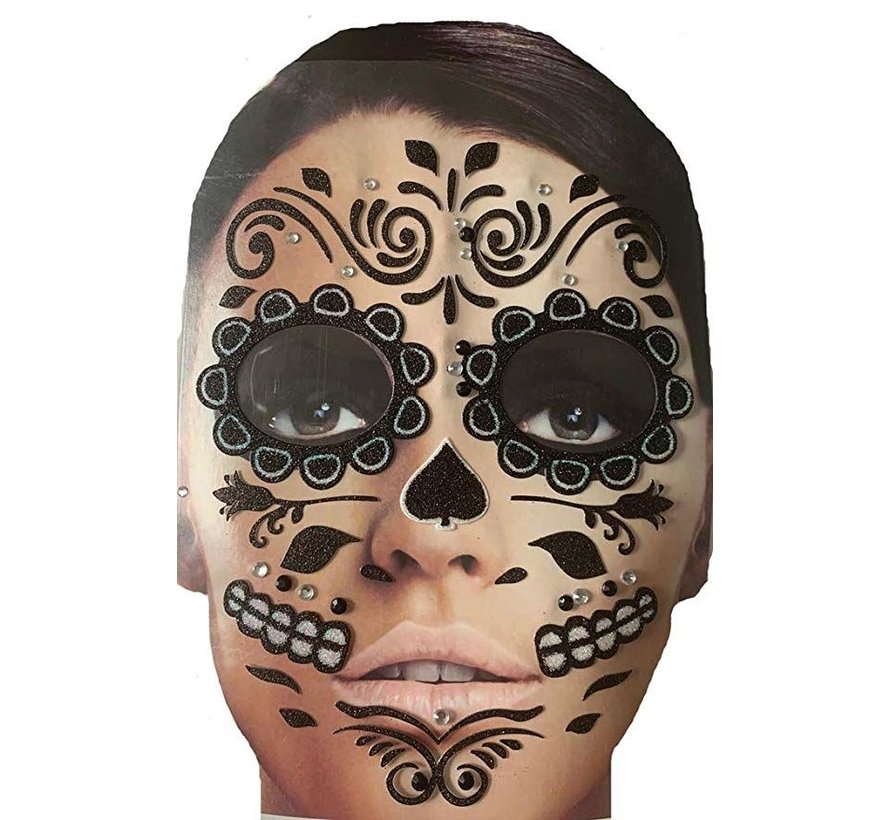 Face Tattoo Stickers   Black Roses