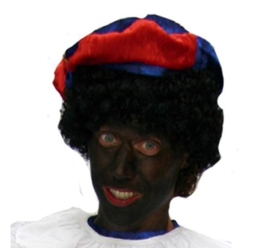 Zwarte pieten Muts ( Blauw/Rood )