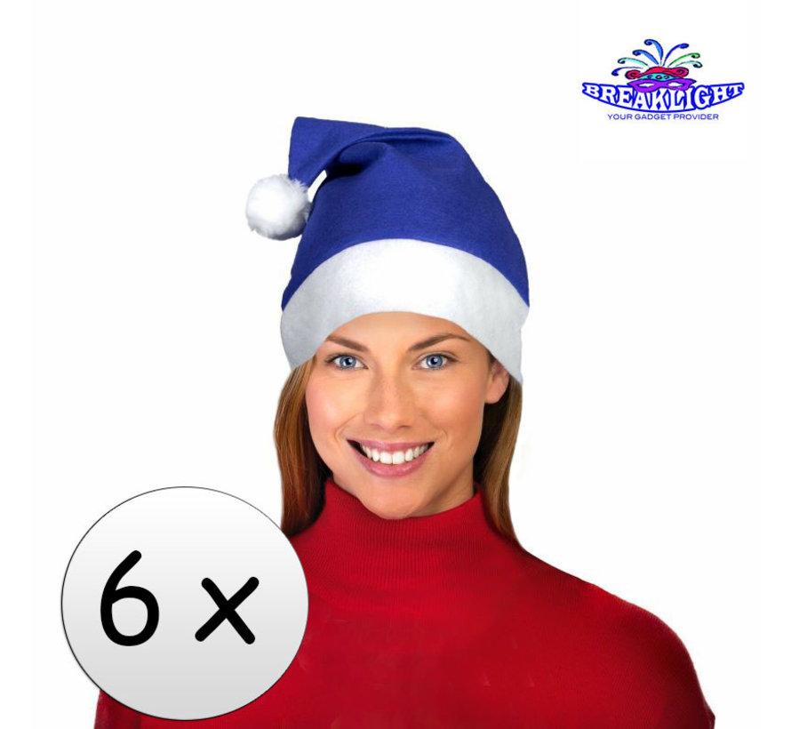 6 x Blue Santa Hat