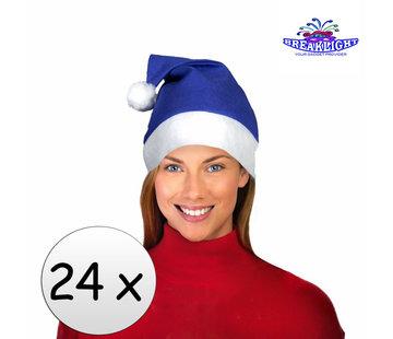 Breaklight.be 24 x Blauwe kerstmuts