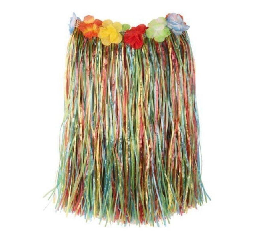 Raffia Skirt Multi + flowers 60cm
