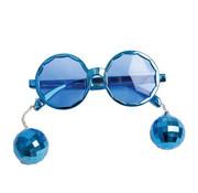 Partyline Disco Bril blauw met discoballetjes | Kinderbril