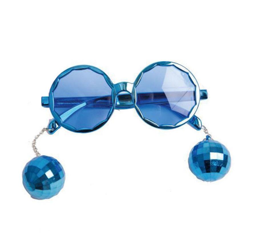 Disco Bril blauw met discoballetjes   Kinderbril