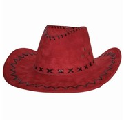 Partyline Cowboyhoed | Suede look Rood