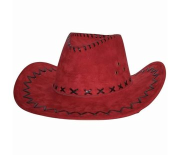 Partyline Cowboyhoed | Suede look Rood