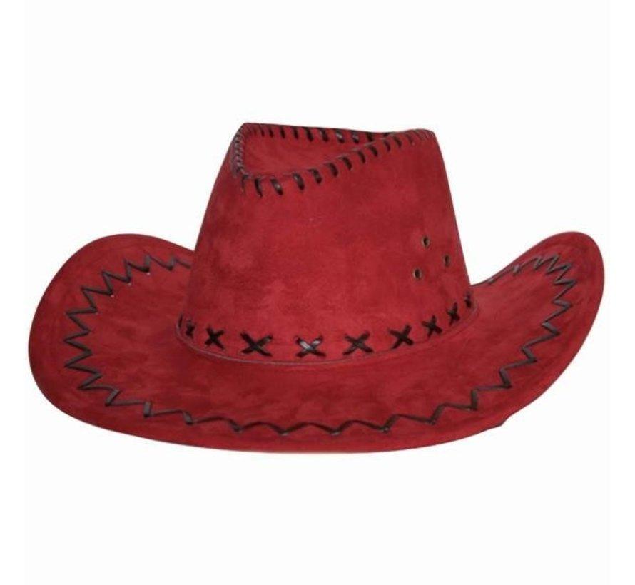 Cowboyhoed | Suede look Rood