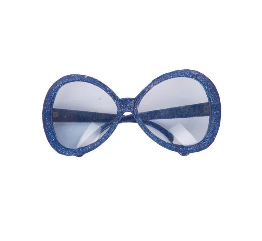 Disco Glasses Glitter Blue