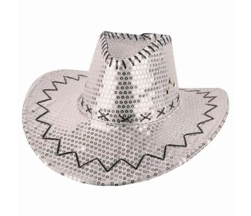 Partyline Cowboyhoed zilver met pailletten | Western