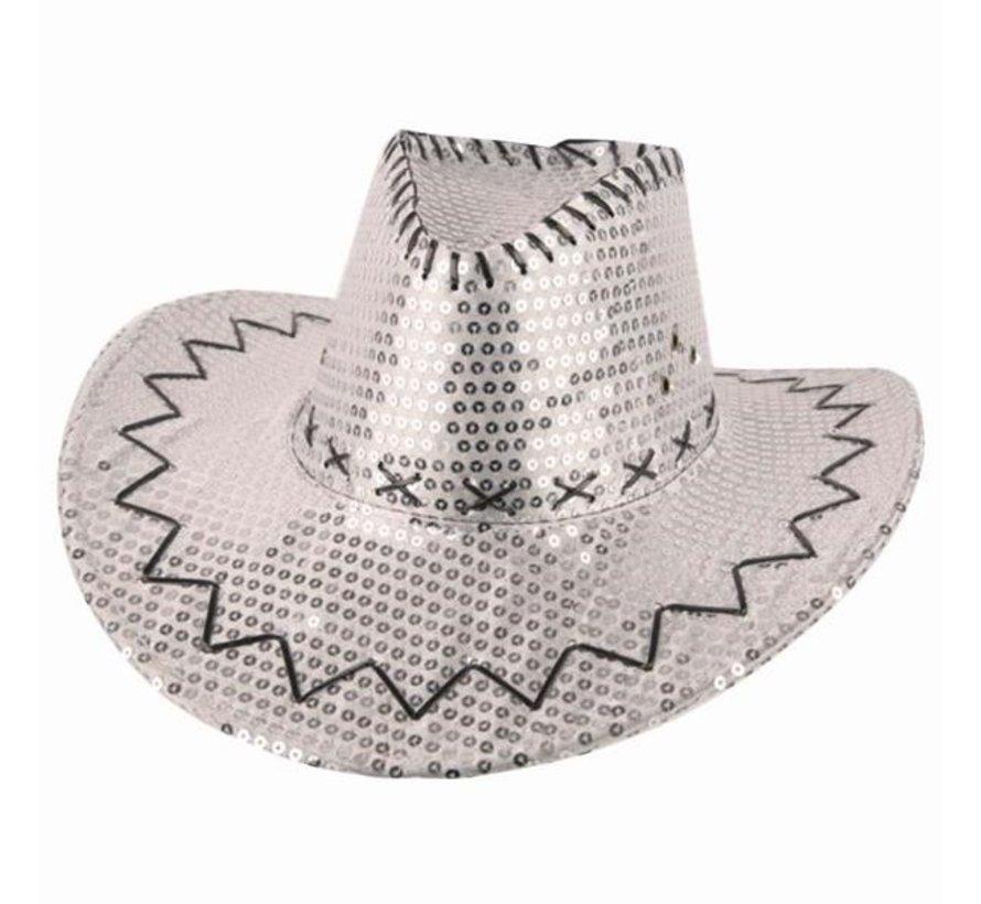 Cowboyhoed zilver met pailletten | Western