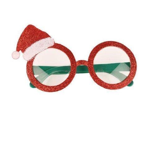 Partyline Kerstbril | Rode Bril met kerstversiering