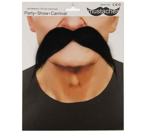 Partyline Moustache noire années 70' adulte | Grande moustache noire