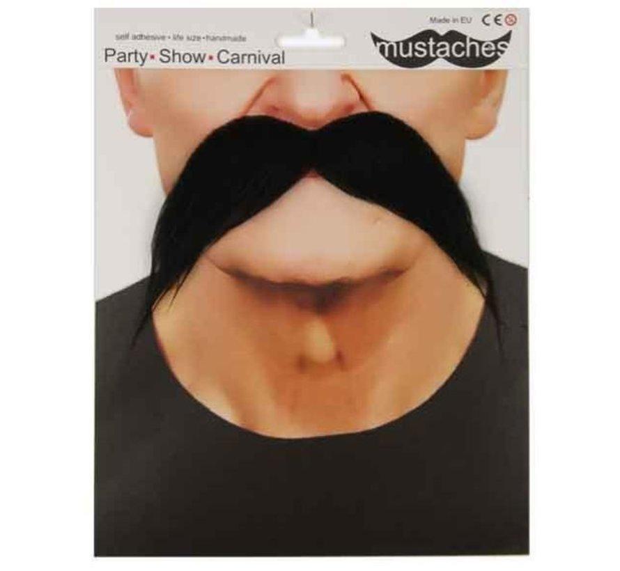Moustache noire années 70' adulte | Grande moustache noire