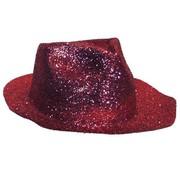 Partyline Borsalinohoed Plastic Glitter Rood