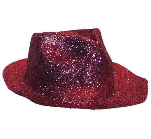 Partyline Borsalino Hat Plastic Glitter Red