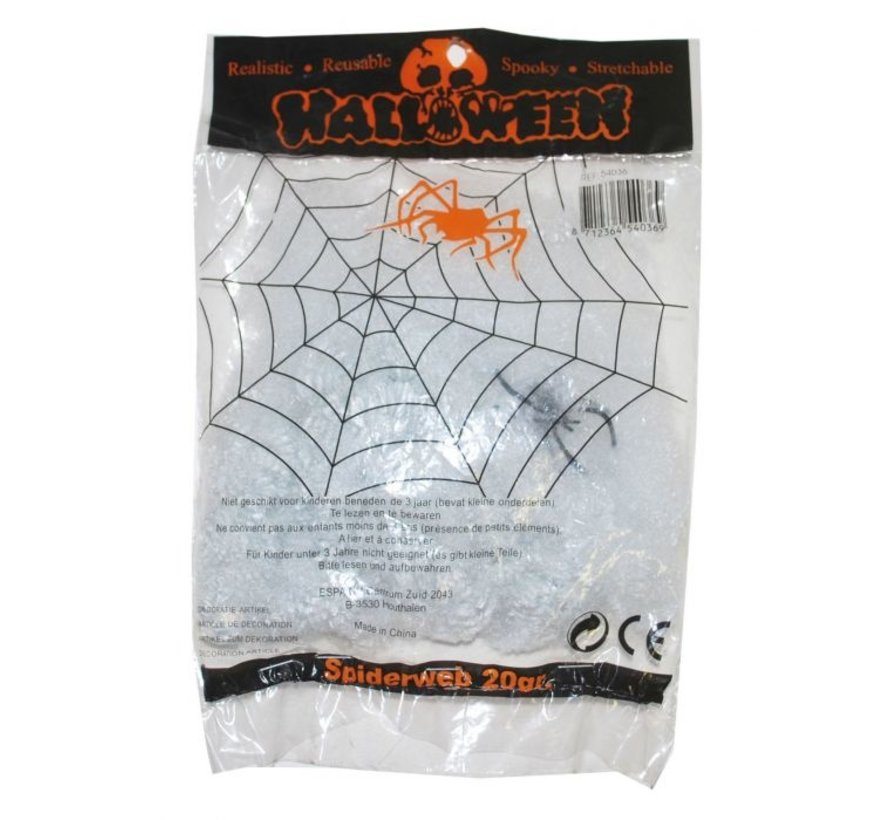 Spinnenweb wit 20 g + spin | Halloween deco