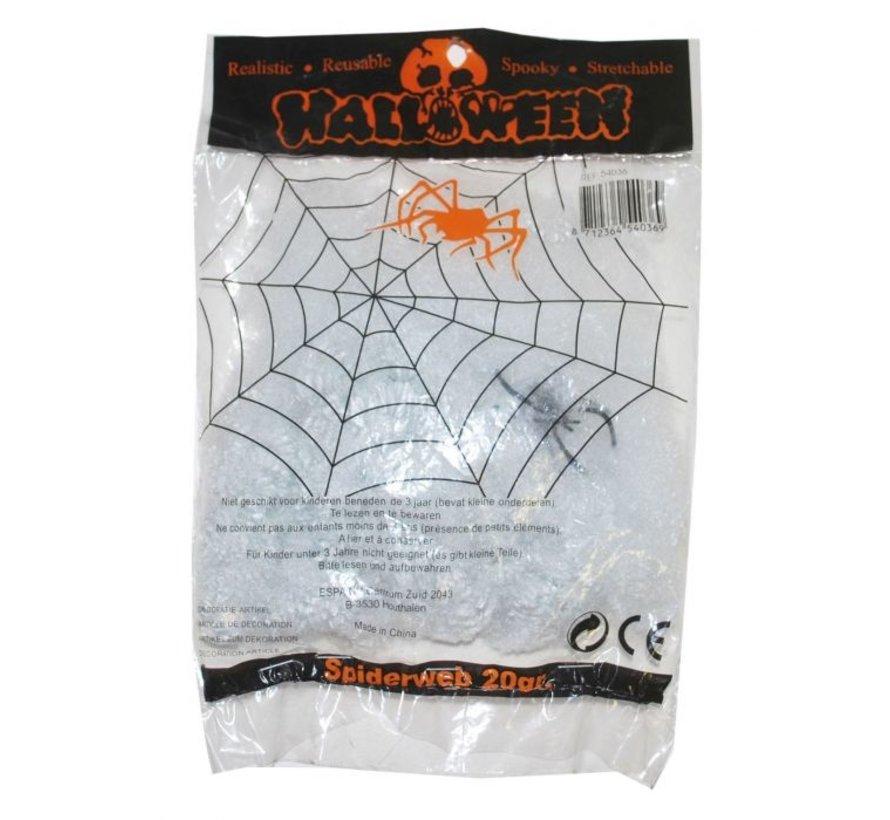 Toile d'araignée blanche 20 g + spin | Déco Halloween