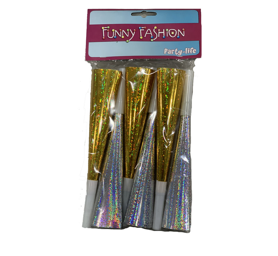 Party horns 6 pieces | Silver and Gold Horns