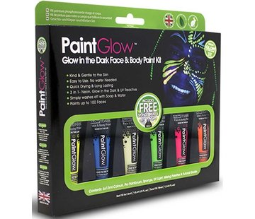 Love Shy Cosmetics PaintGlow - Glow in the Dark Neon Verf Schmink Set PaintGlow - 6x13ml