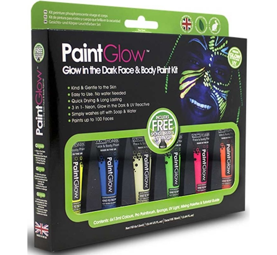 PaintGlow - Ensemble de peinture pour le visage Glow in the Dark Neon PaintGlow - 6x13ml