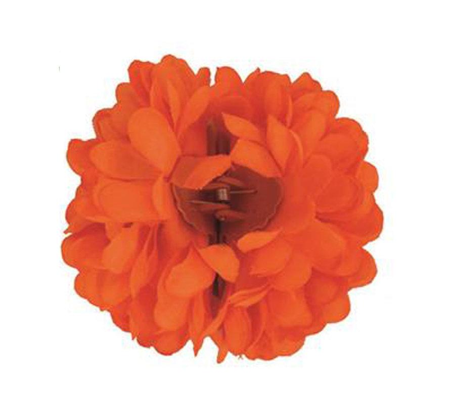 Pince à cheveux orange fluo Fleur   Pince à cheveux orange
