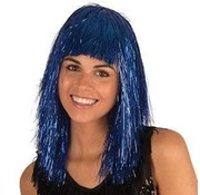 Partyline Disco wig tinsel Blue