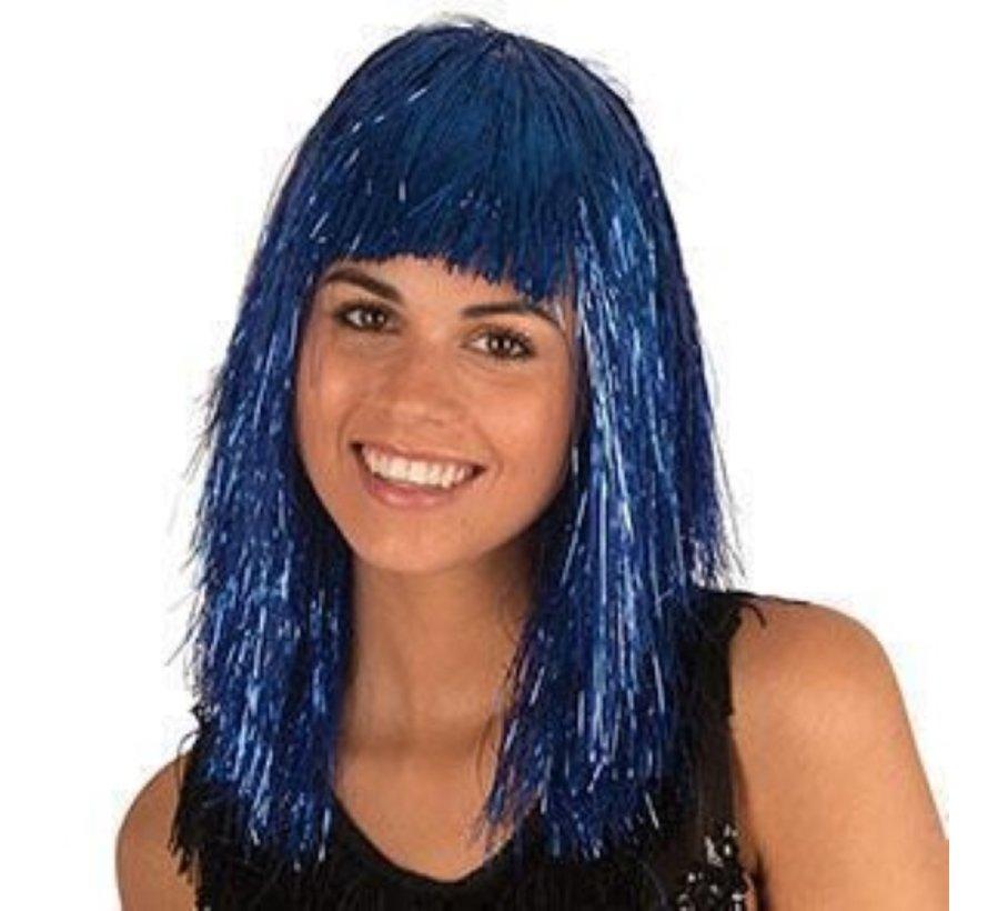 Disco Pruik Tinsel Blauw