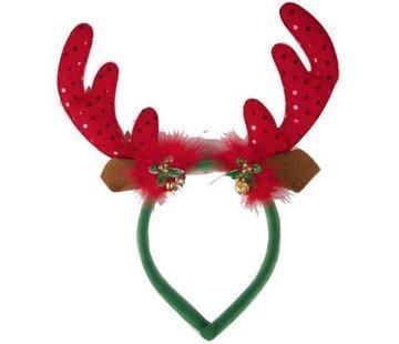 Partyline Diadème de renne avec cloches | Diadème de Noël