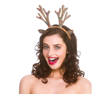 Wicked Costumes  6x Glitter Reindeer Diadem with bells