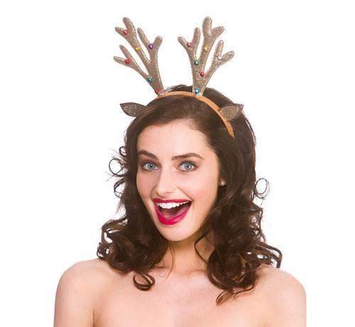 Wicked Costumes  6 x Diadème de renne scintillant avec cloches