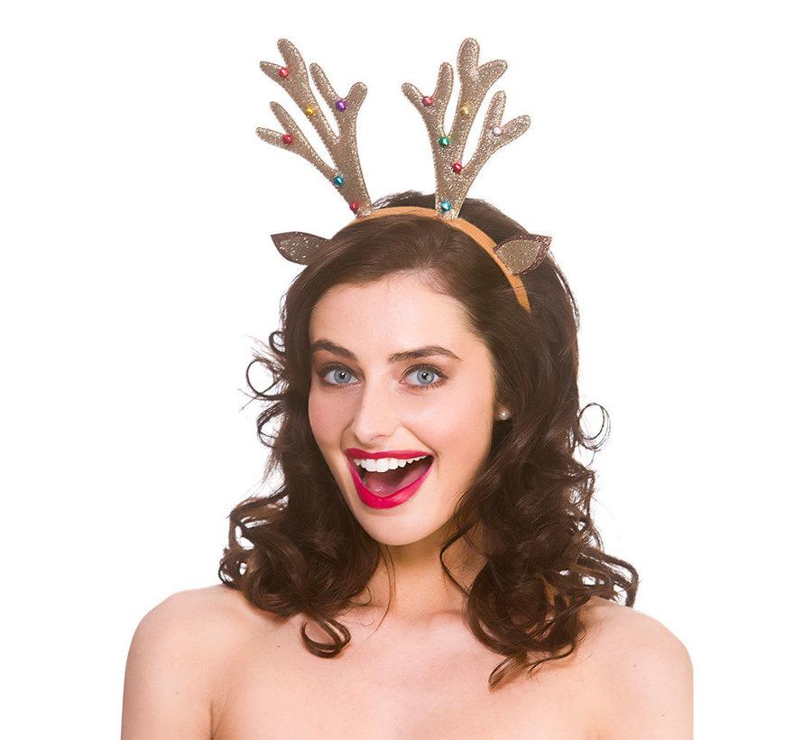 6x Glitter Reindeer Diadem with bells