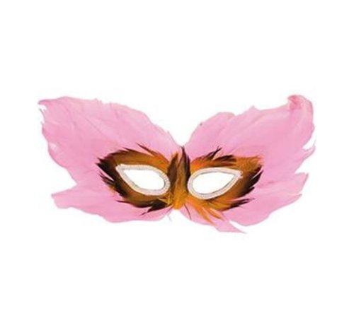 Partyline Venetiaans Masker Roze | Roze Oogmasker met pluimen